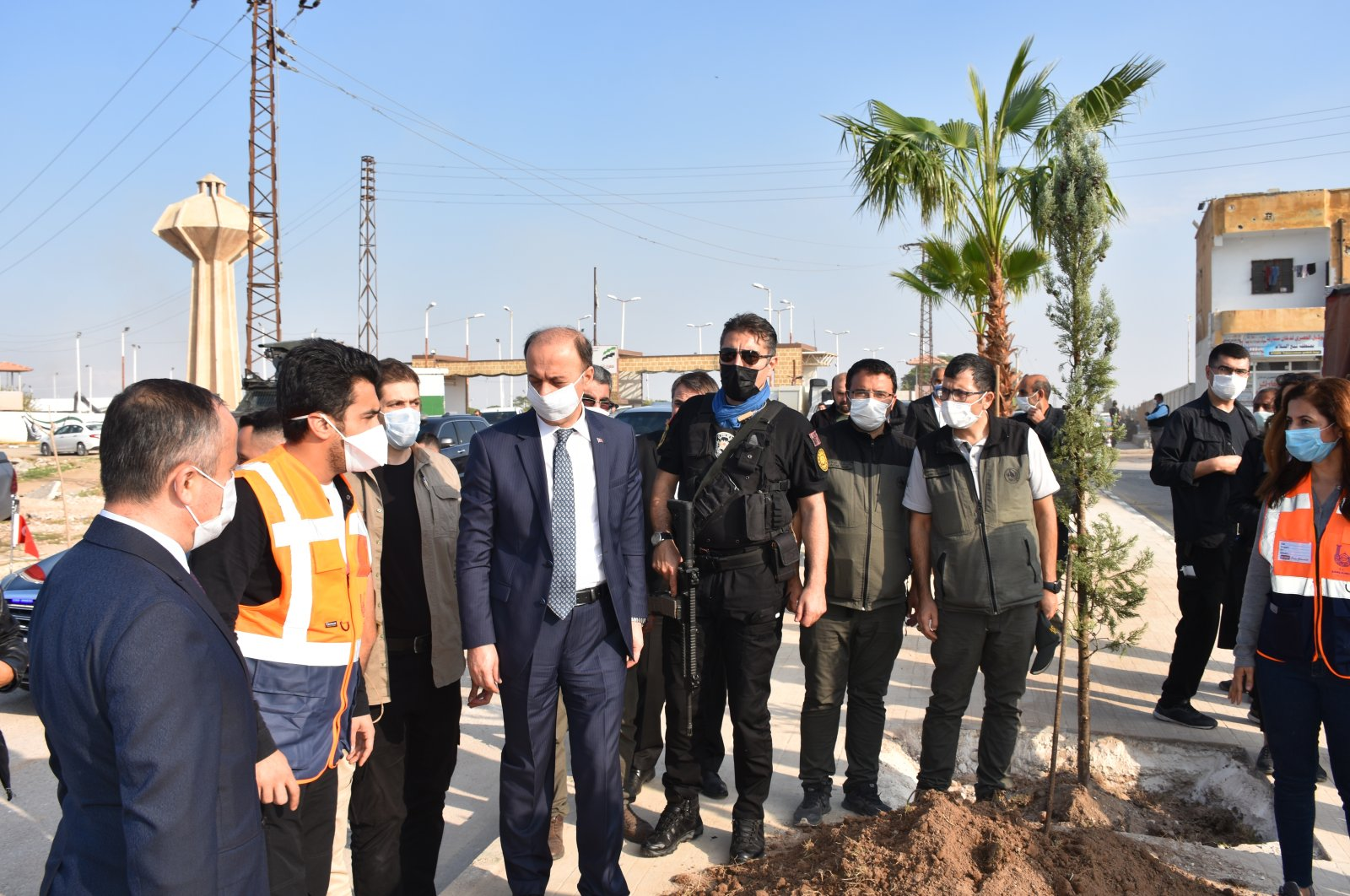 The Şanlıurfa governorate's Syria Support and Coordination Center planted 600 trees in Tal Abyad and Ras al-Ain, northern Syria, Nov. 12, 2020. (AA Photo)
