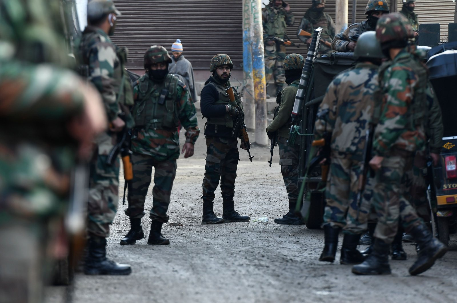 Indian army soldiers stand guard on the outskirts of Srinagar, Indian-controlled Kashmir, Nov. 26, 2020. (AFP Photo)