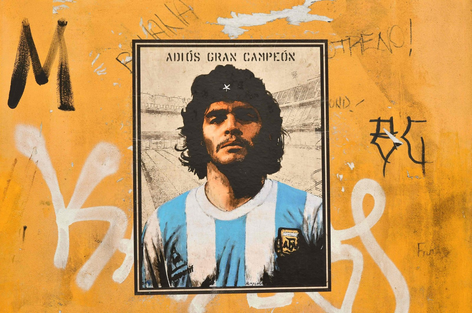 A mural dedicated to Diego Armando Maradona by street artist Harry Greb is seen in the Trastevere district of Rome, Italy, Nov. 27, 2020. (AFP Photo)
