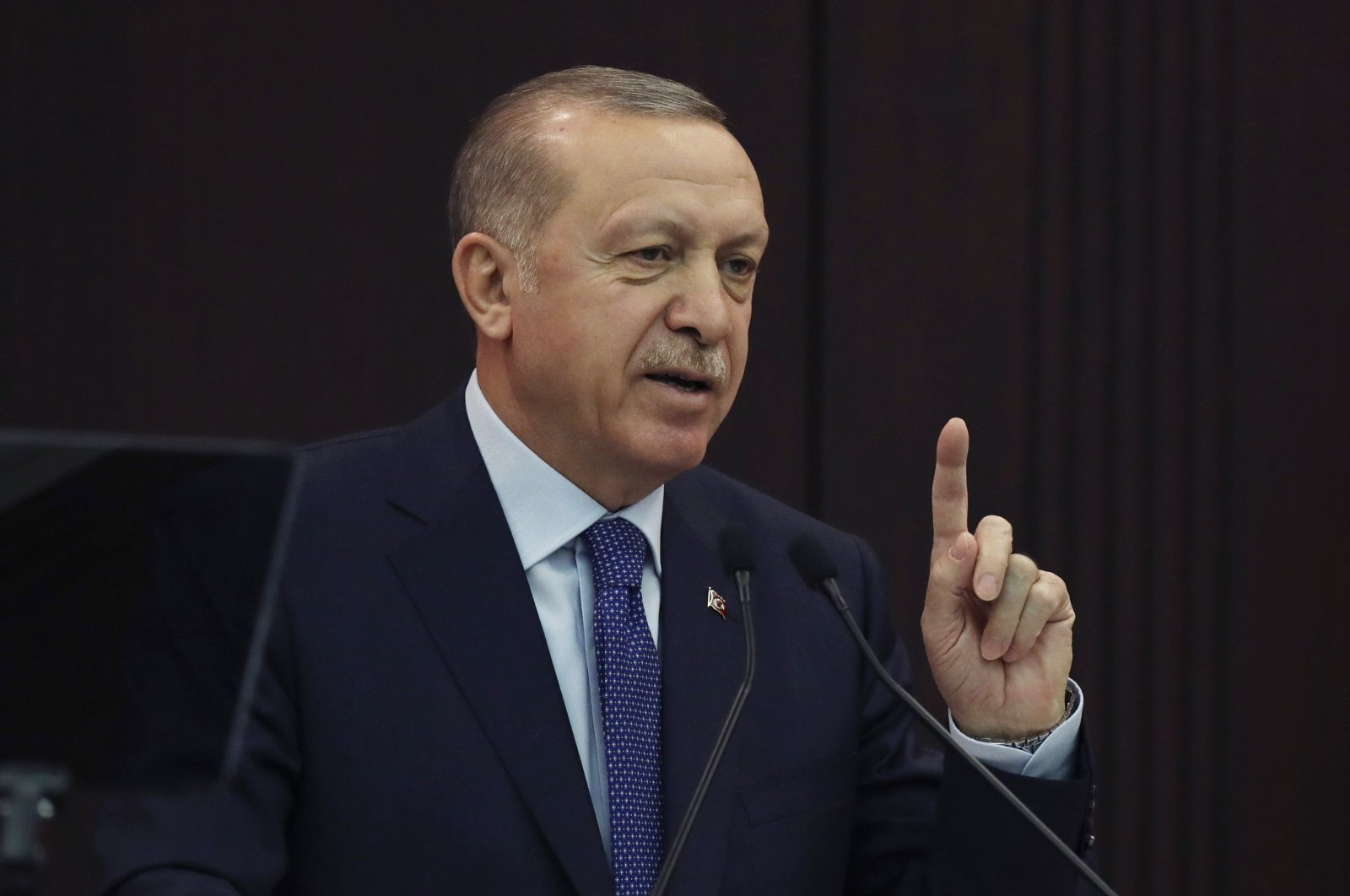 President Recep Tayyip Erdoğan speaks after a meeting with ministers, in the capital Ankara, Turkey, March 18, 2020. (AP Photo)