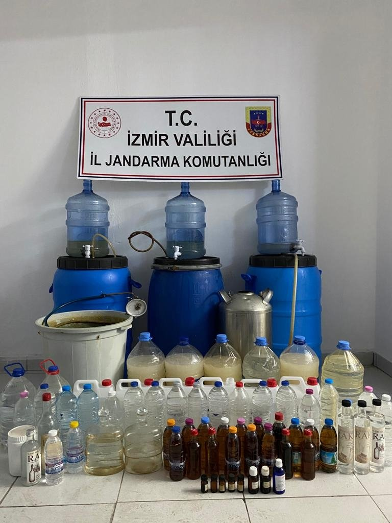 Bootleg alcohol seized in an operation is displayed in Izmir, Turkey, Nov. 29, 2020. (AA Photo)
