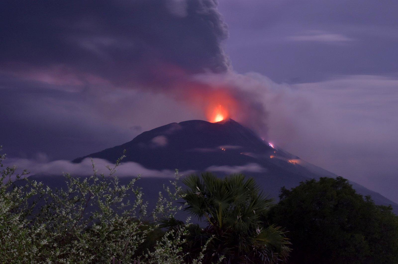 An eruption of Mount Ile Lewotolok is seen in Lembata, East Nusa Tenggara Province, Indonesia Nov. 29, 2020. (Antara Foto/Aken Udjan via Reuters)