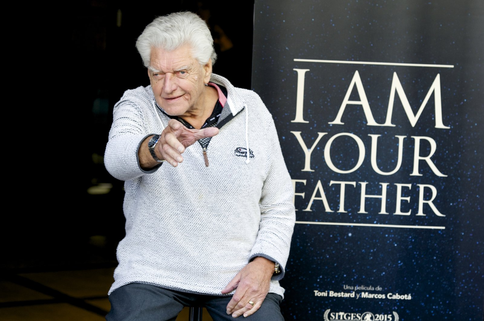 """David Prowse (Darth Vader) attends the """"I Am Your Father"""" photocall at Verdi Cinema in Madrid, Spain, Nov. 18, 2015. (Getty Images)"""
