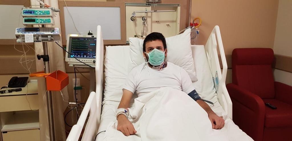 Ceyhun Yıldırım in his hospital bed after the surgery, in Istanbul, Turkey, Nov. 30, 2020. (DHA Photo)