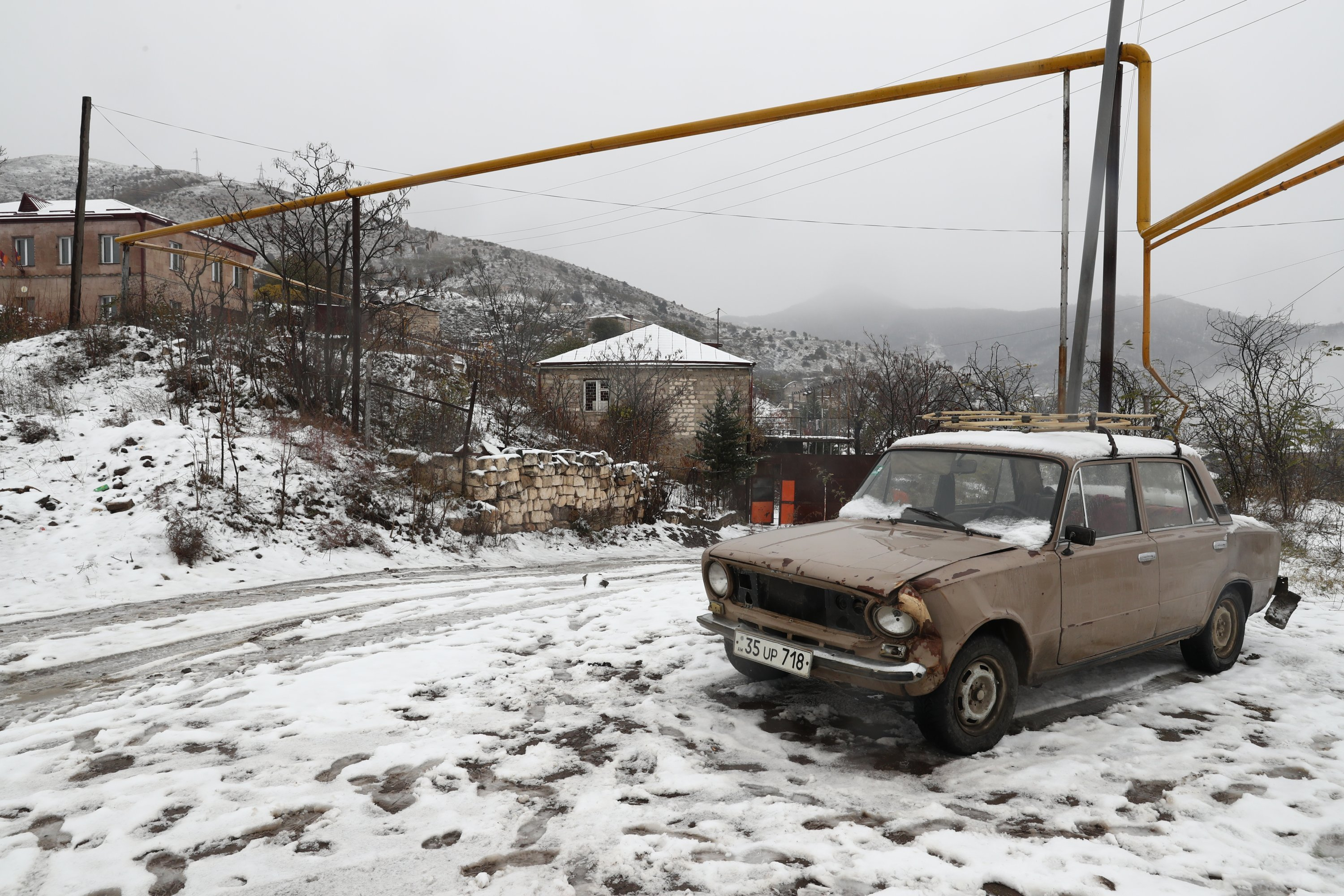 A view of a residential neighborhood in the town of Lachin, Nagorno-Karabakh. (Alexander Ryumin / TASS via Reuters)