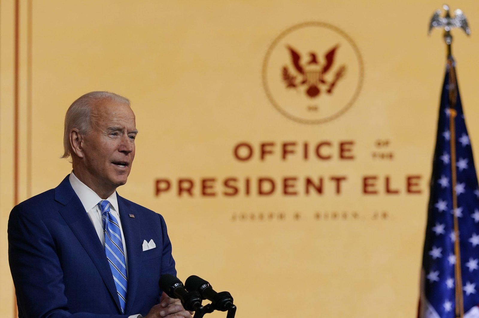 President-elect Joe Biden speaks at The Queen theater in Wilmington, Delaware, U.S., Nov. 25, 2020. (AP Photo)