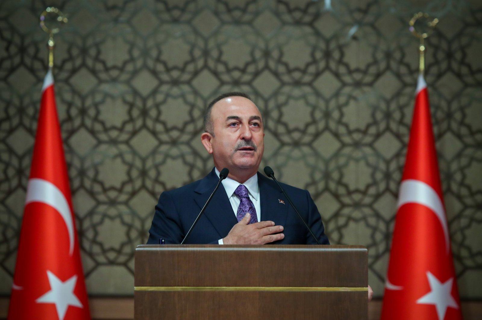 Foreign Minister Mevlüt Çavuşoğlu speaks at the 12th ambassadors' summit at the Presidential Complex in Ankara, Turkey, Nov. 10, 2020. (AA Photo)