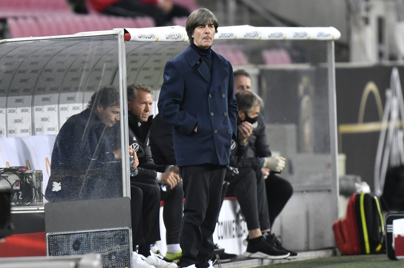 Germany's coach Joachim Low reacts during the UEFA Nations League match between Germany and Switzerland, in Cologne, Germany, Oct. 13, 2020. (AP Photo)