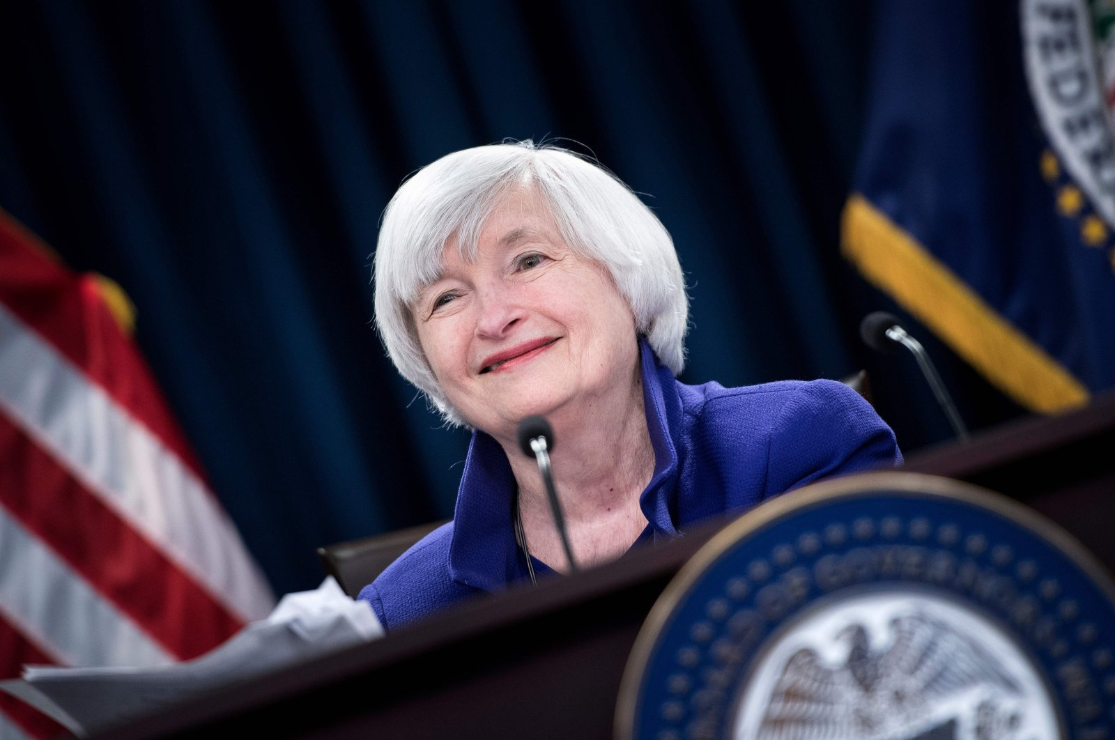 In this file photo taken on Dec. 13, 2017, former Federal Reserve Board Chair Janet Yellen speaks during a briefing at the U.S. Federal Reserve in Washington, DC. (AFP Photo)