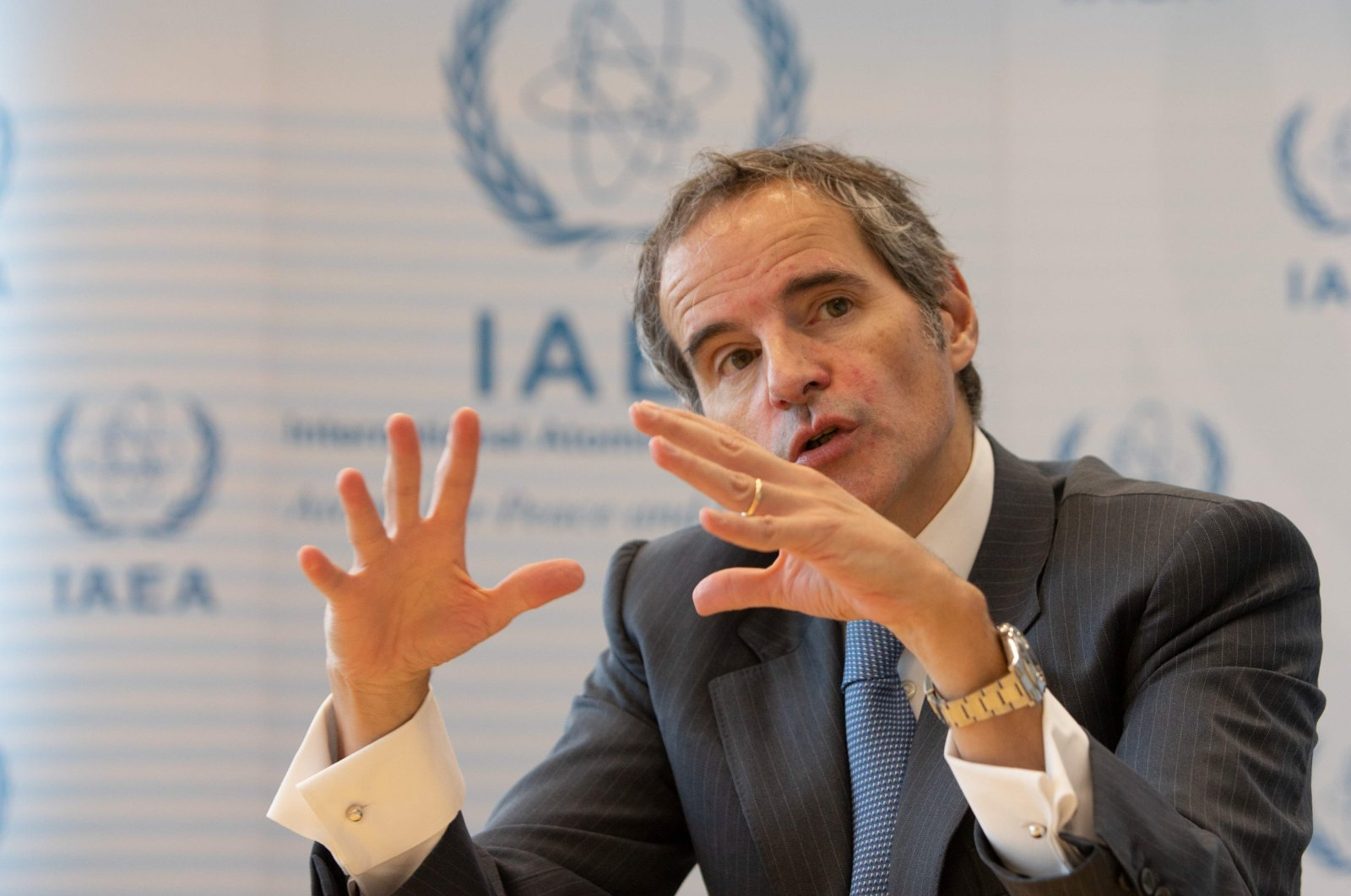 Director General of the International Atomic Energy Agency (IAEA) Rafael Mariano Grossi speaks during an AFP interview in Vienna on Nov. 30, 2020. (AFP)