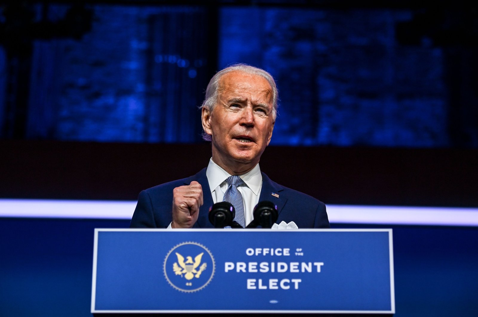 In this file photo taken on November 24, 2020 US President-elect Joe Biden speaks during a cabinet announcement event in Wilmington, Delaware. (AFP Photo)