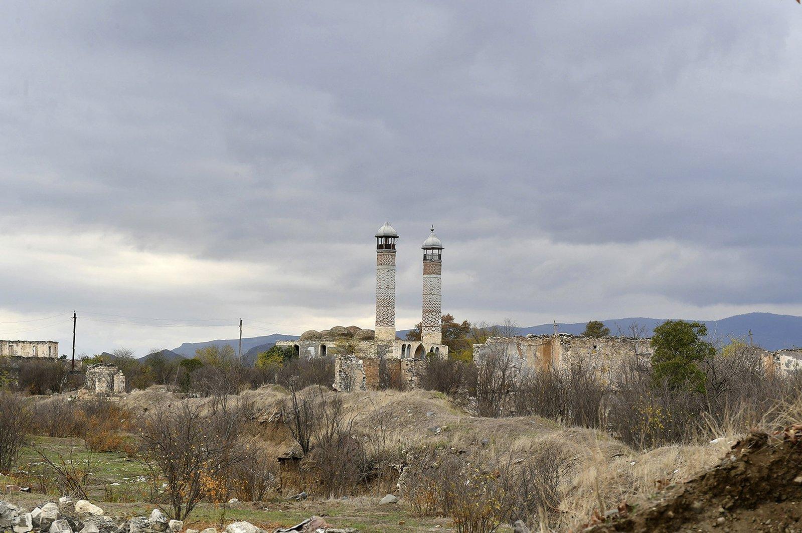 The Aghdam Mosque in Aghdam, after Armenia handed the area over to Azerbaijani forces, Nagorno-Karabakh, Nov. 23, 2020. (Azerbaijani Presidential Press Office via AP)