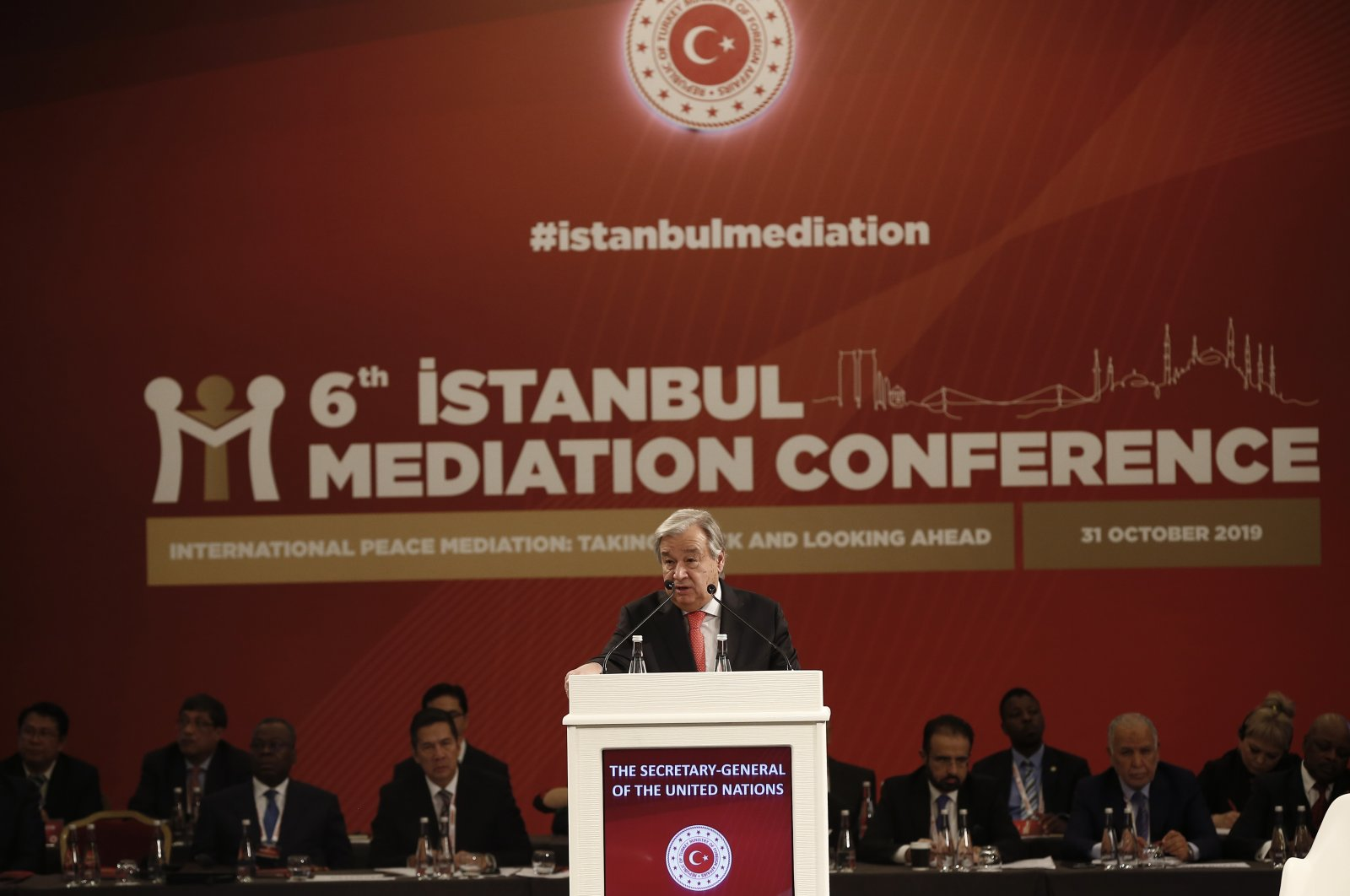 United Nations Secretary-General Antonio speaks at the 6th Istanbul Mediation Conference, in Istanbul, Thursday, Oct. 31, 2019. (AP File Photo)