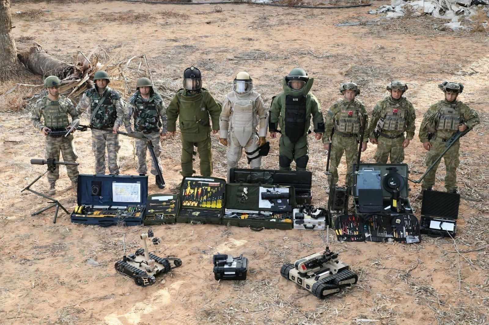 The Turkish military's demining crews pose for a group photo in Libya, June 25, 2020. (Defense Ministry Handout Photo)