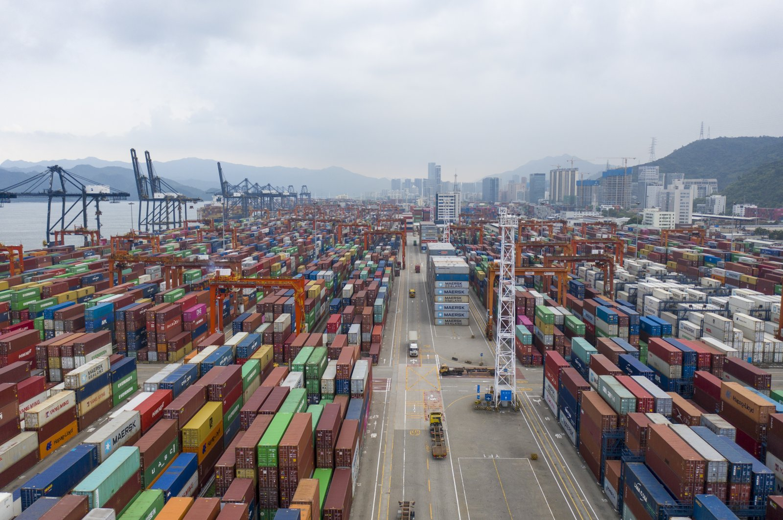 An aerial view of containers sitting stacked at the Yantian International Container Terminals, Shenzhen, Guangdong, China, Aug. 22, 2020. (Photo by Getty Images)