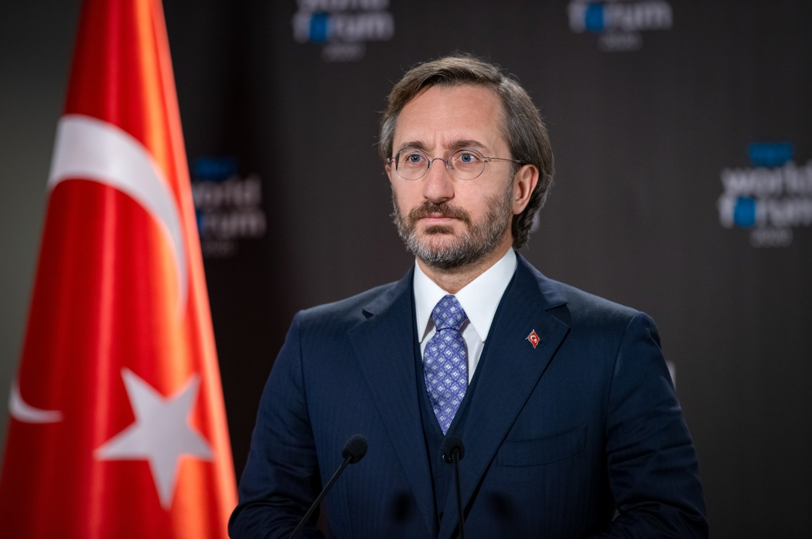 Presidential Communications Chief Fahrettin Altun speaks at the online TRT World Forum 2020, Dec. 1, 2020 (Courtesy of the Communications Directorate)