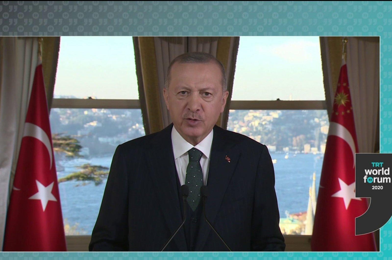 President Recep Tayyip Erdoğan speaks at the inaguartion ceremony of the fourth TRT World Forum, Dec.1, 2020. (IHA)