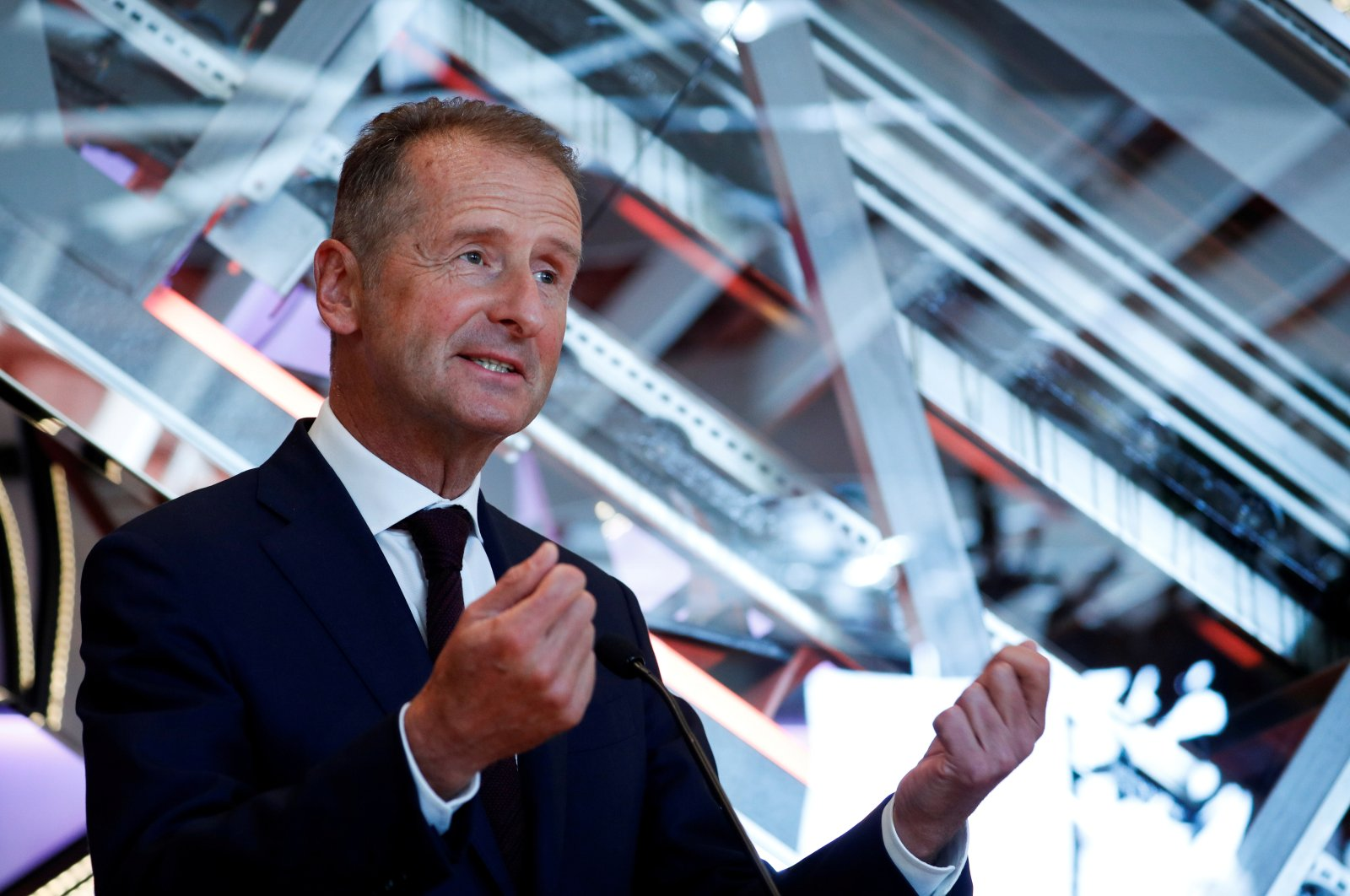 Volkswagen Group CEO Herbert Diess gestures as he speaks during a news conference to announce the appointment of Wayne Griffiths as the new president of Volkswagen's Spanish brand SEAT, in Barcelona, Spain, Sept. 23, 2020. (Reuters Photo)