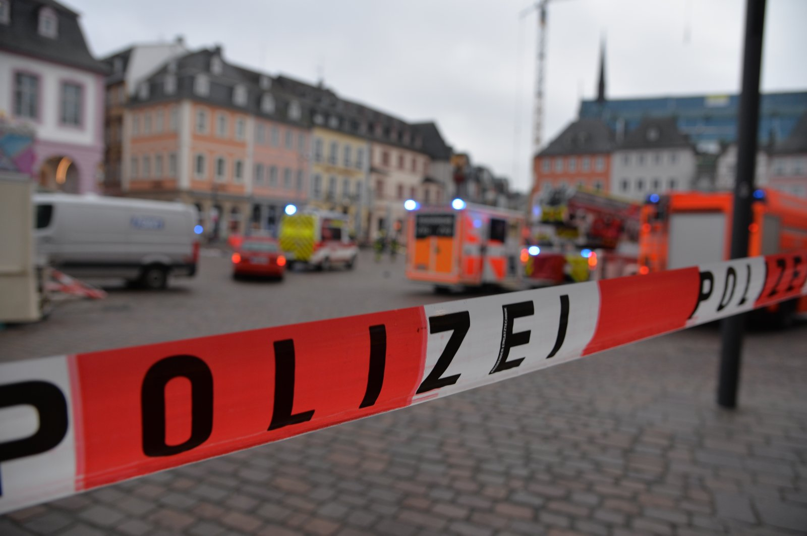 A square is blocked by the police in Trier, Germany, Dec. 1, 2020. (AP Photo)