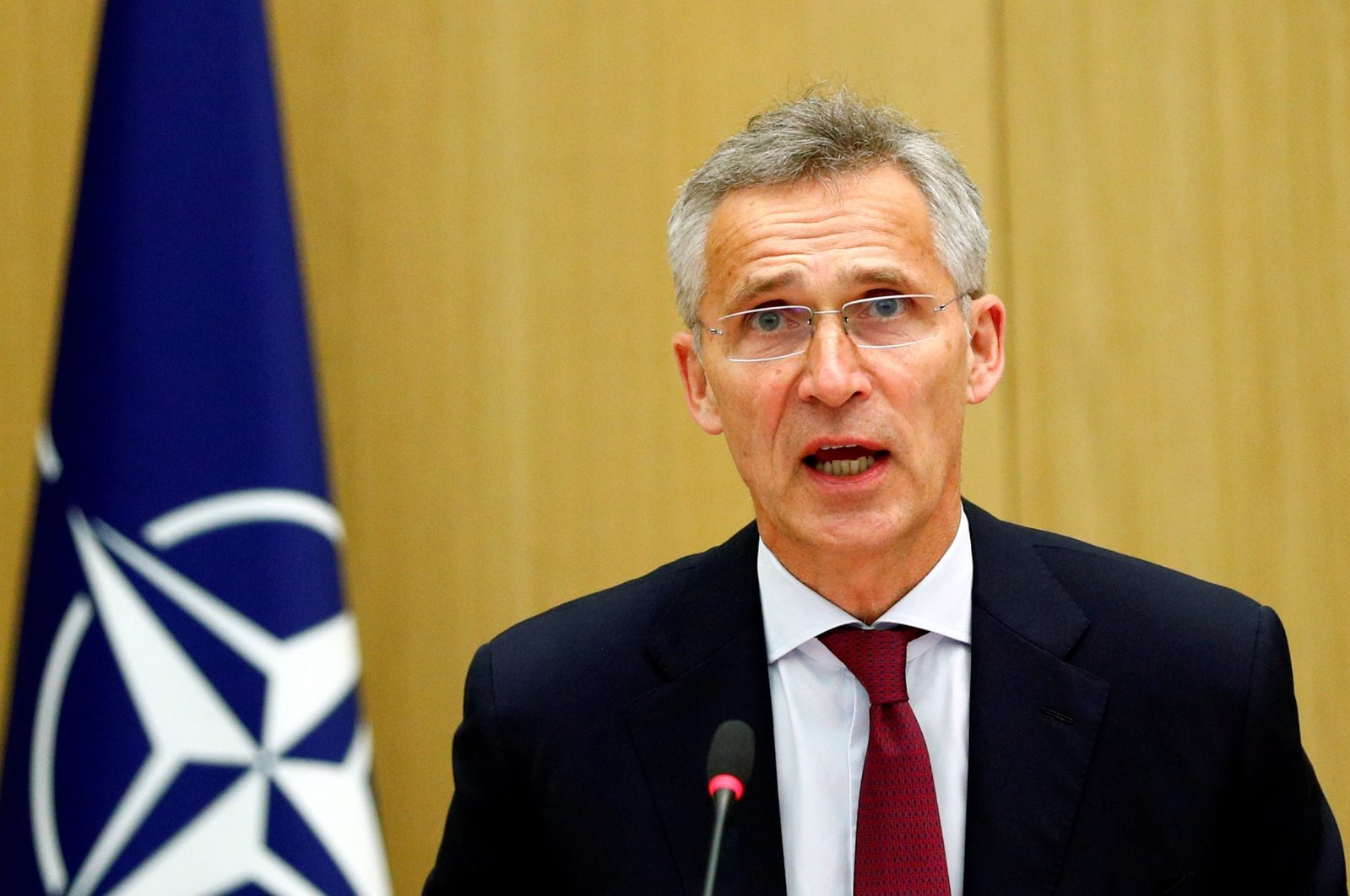 NATO Secretary-General Jens Stoltenberg speaks as he chairs a NATO defense ministers' meeting via teleconference at the alliance headquarters in Brussels, Belgium, June 17, 2020. (Reuters Photo)