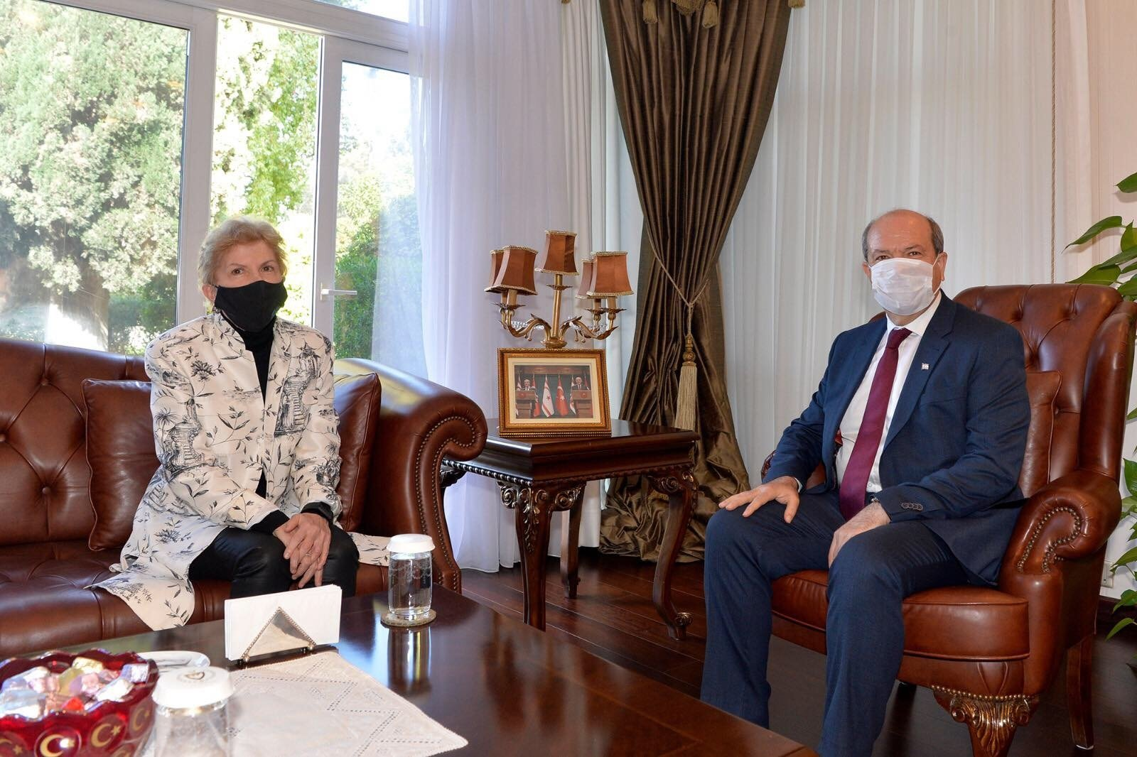 Turkish Republic of Northern Cyprus (TRNC) President Ersin Tatar (R) the meets with United Nations special envoy to Cyprus, Jane Holl Lute, in Lefkoşa, TRNC, Dec. 1, 2020. (AA Photo)