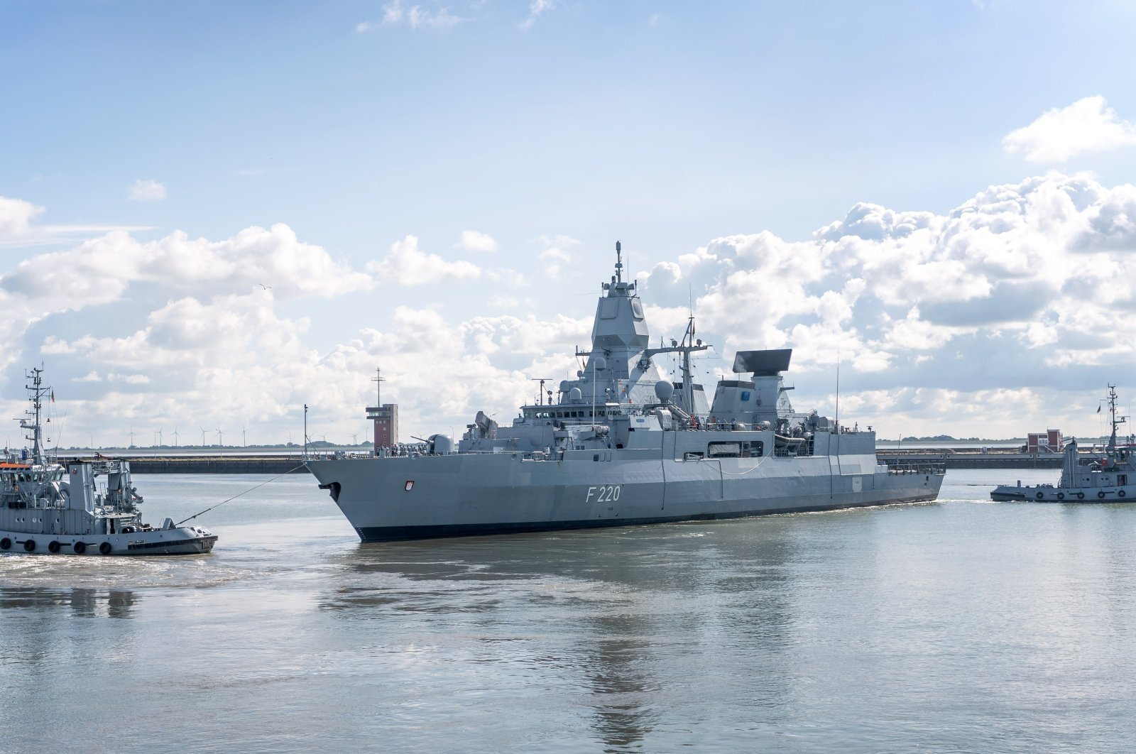 "The frigate ""Hamburg"" runs out of the harbor for a five-month Mediterranean mission as part of the European Union's Irini operation, Lower Saxony, Wilhelmshaven, Aug. 4, 2020. (Photo by Getty Images)"