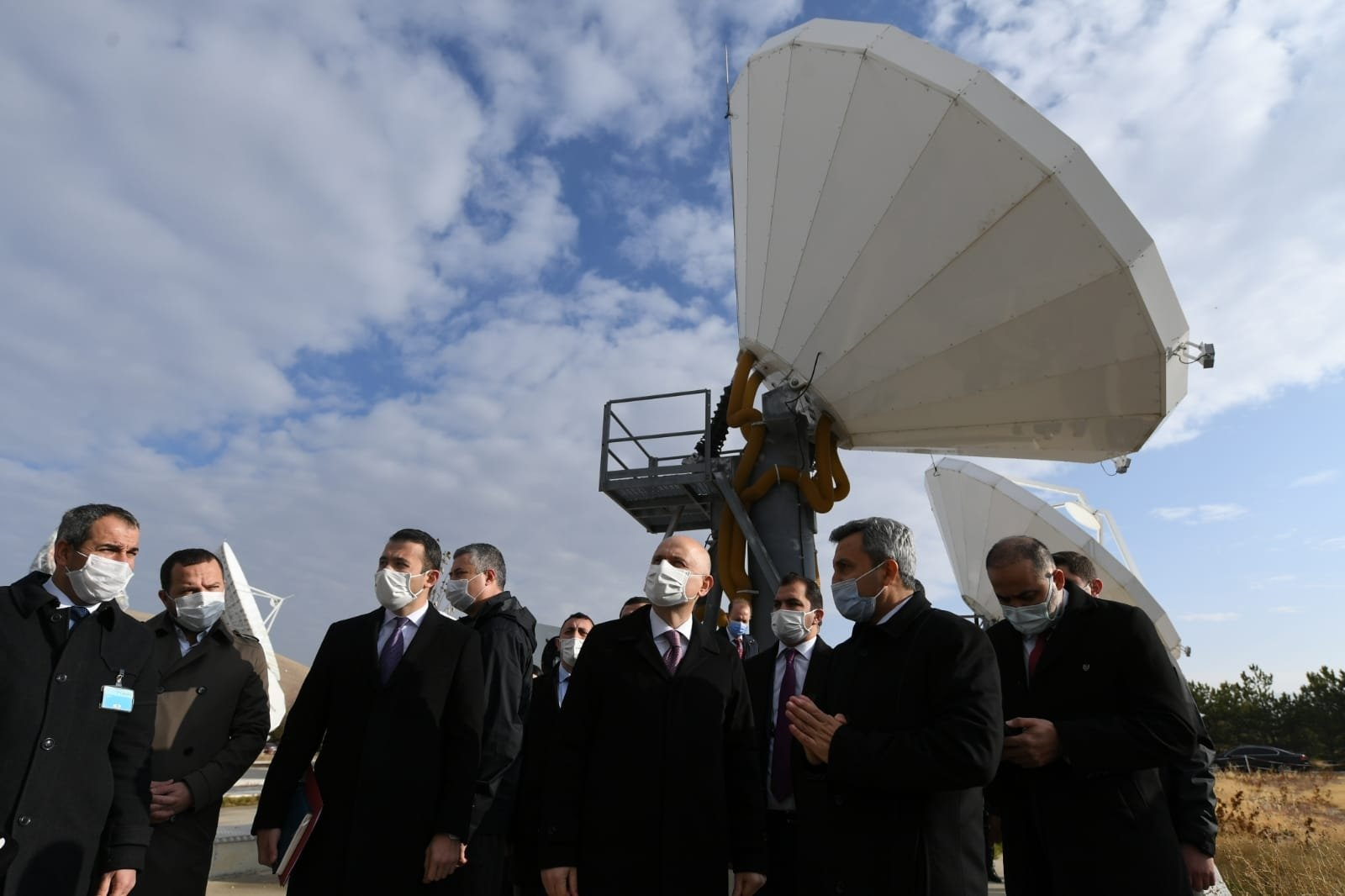 Infrastructure and Transport Minister Adil Karaismailoğlu visits the Türksat Gölbaşı Central Compound in capital Ankara, Turkey, Dec. 2, 2020. (DHA Photo)