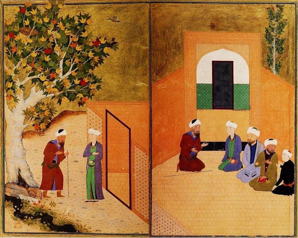 """Sebuah ilustrasi dari """"Gulistan"""" menunjukkan Saadi Shirazi disambut oleh seorang pemuda dari Kasghar dalam sebuah forum di Bukhara."""