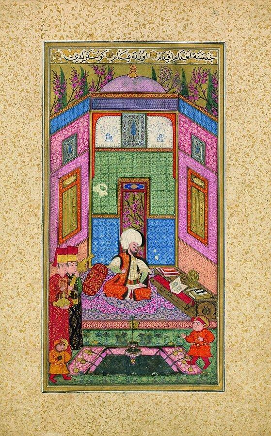 "Miniatur pertama dari manuskrip yang diterangi, ""The Book of Felicity,"" menggambarkan bacaan Sultan Murad III."