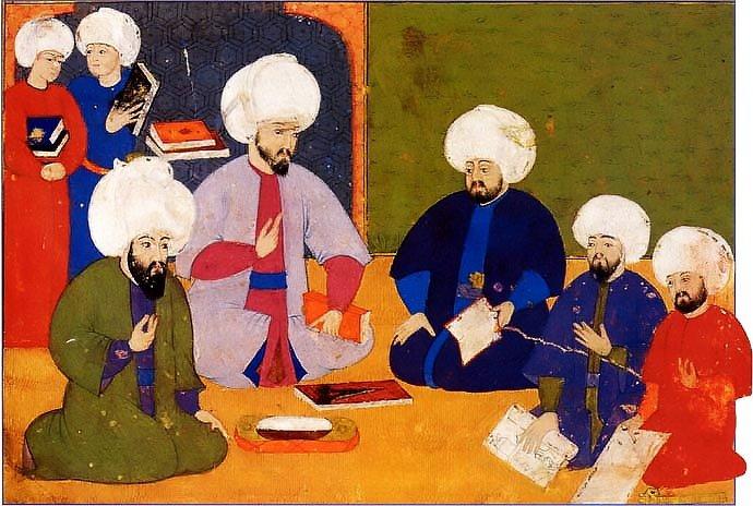 Sebuah miniatur menggambarkan para sarjana Utsmaniyah berkonsultasi dengan beberapa manuskrip tua.