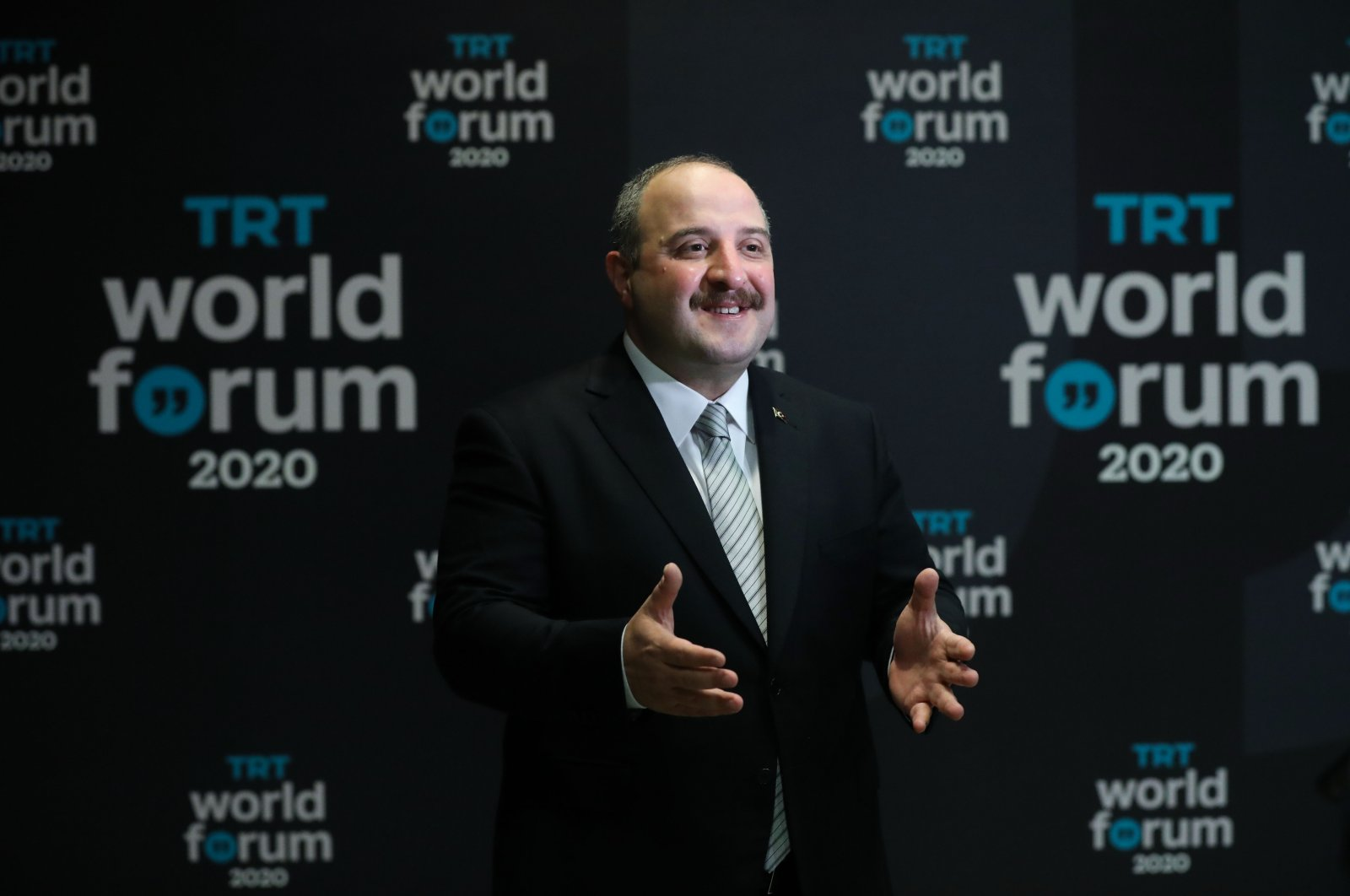 Industry and Technology Minister Mustafa Varank speaks at the TRT World Forum 2020 held online this year, Dec.1, 2020. (AA Photo)