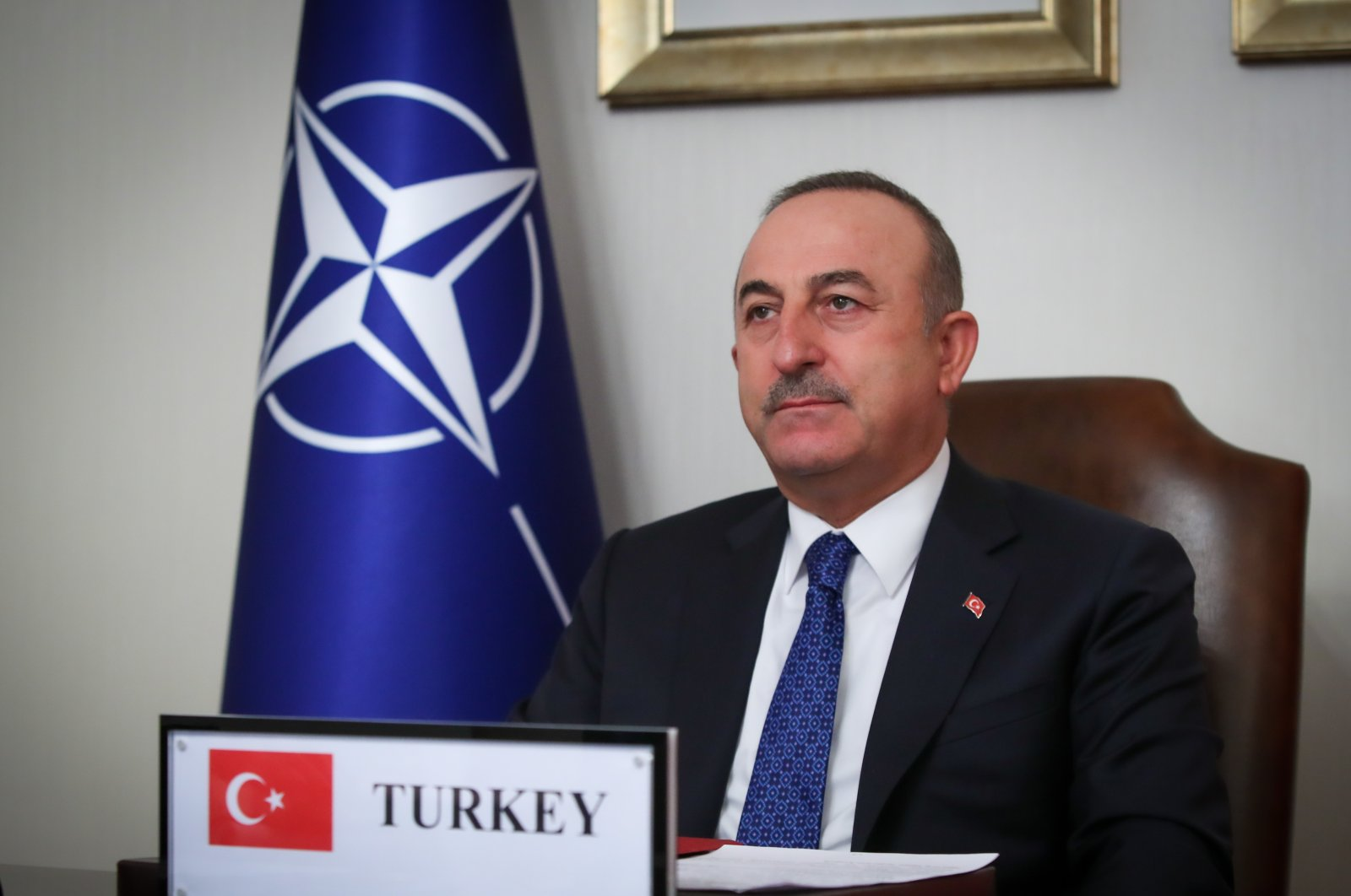 Foreign Minister Mevlüt Çavuşoğlu speaks at the NATO foreign ministers' meeting via videoconference, in Ankara, Dec. 1, 2020. (AA Photo)