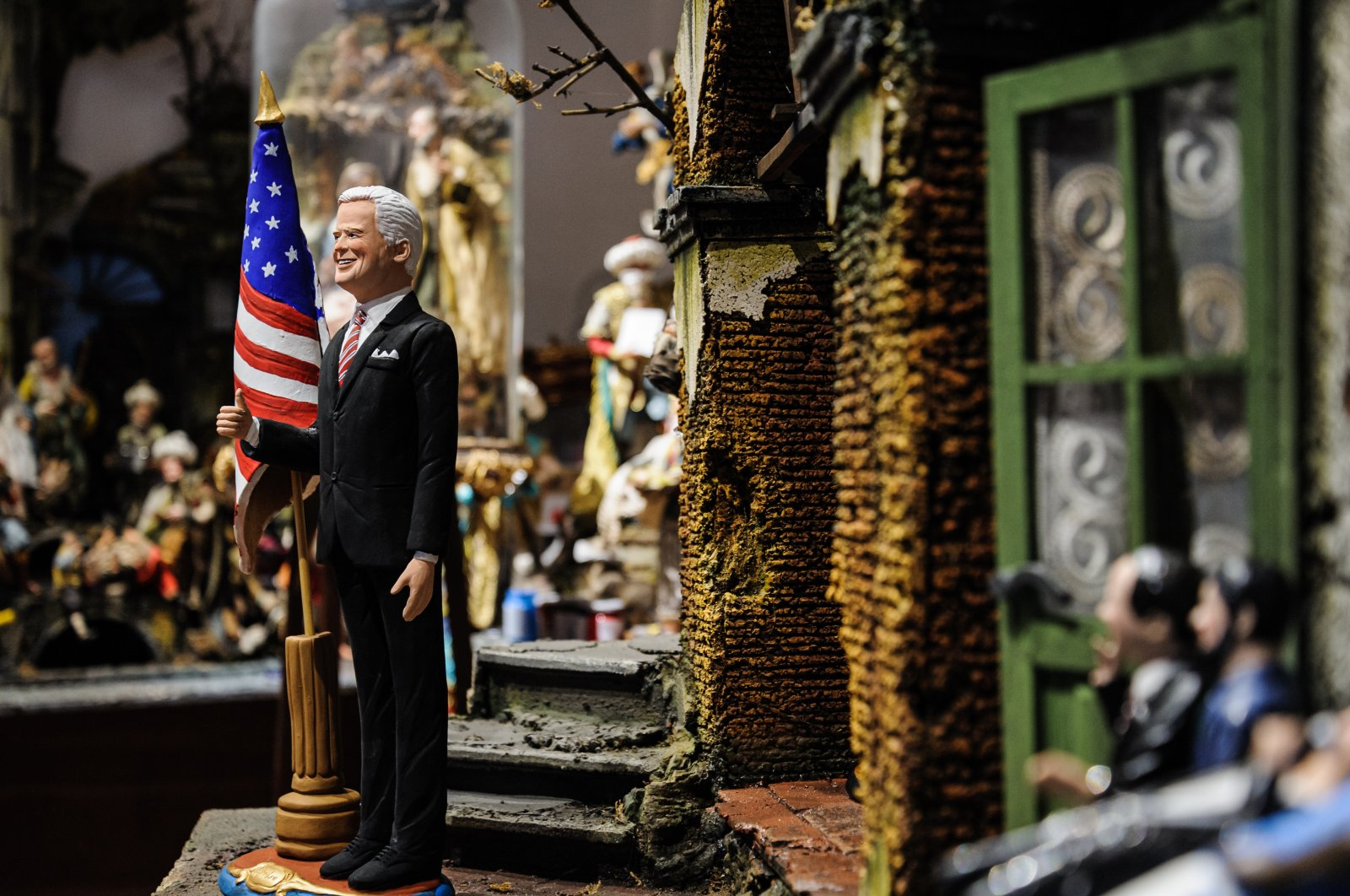 A statuette of U.S. President-elect Joe Biden, produced by master crafters of San Gregorio Armeno, Naples, Italy, Nov. 21, 2020. (Photo by Getty Images)