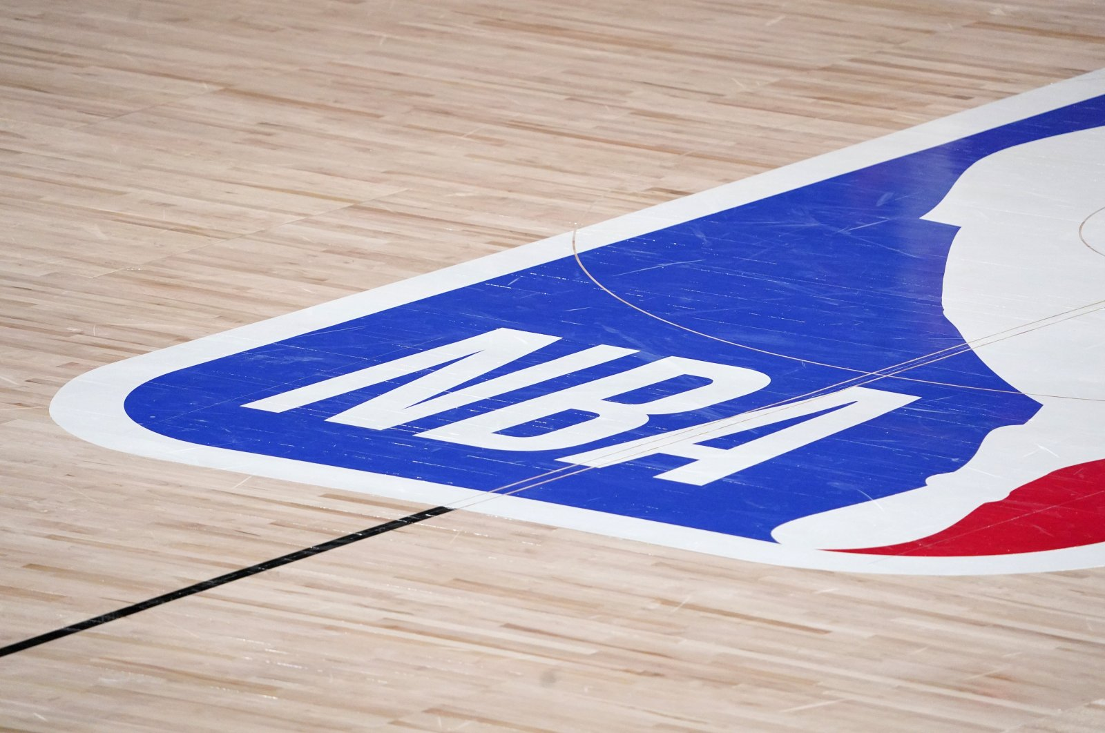 NBA logo at center court in Lake Buena Vista, Florida, United States, Sept. 2, 2020. (AP PHOTO)