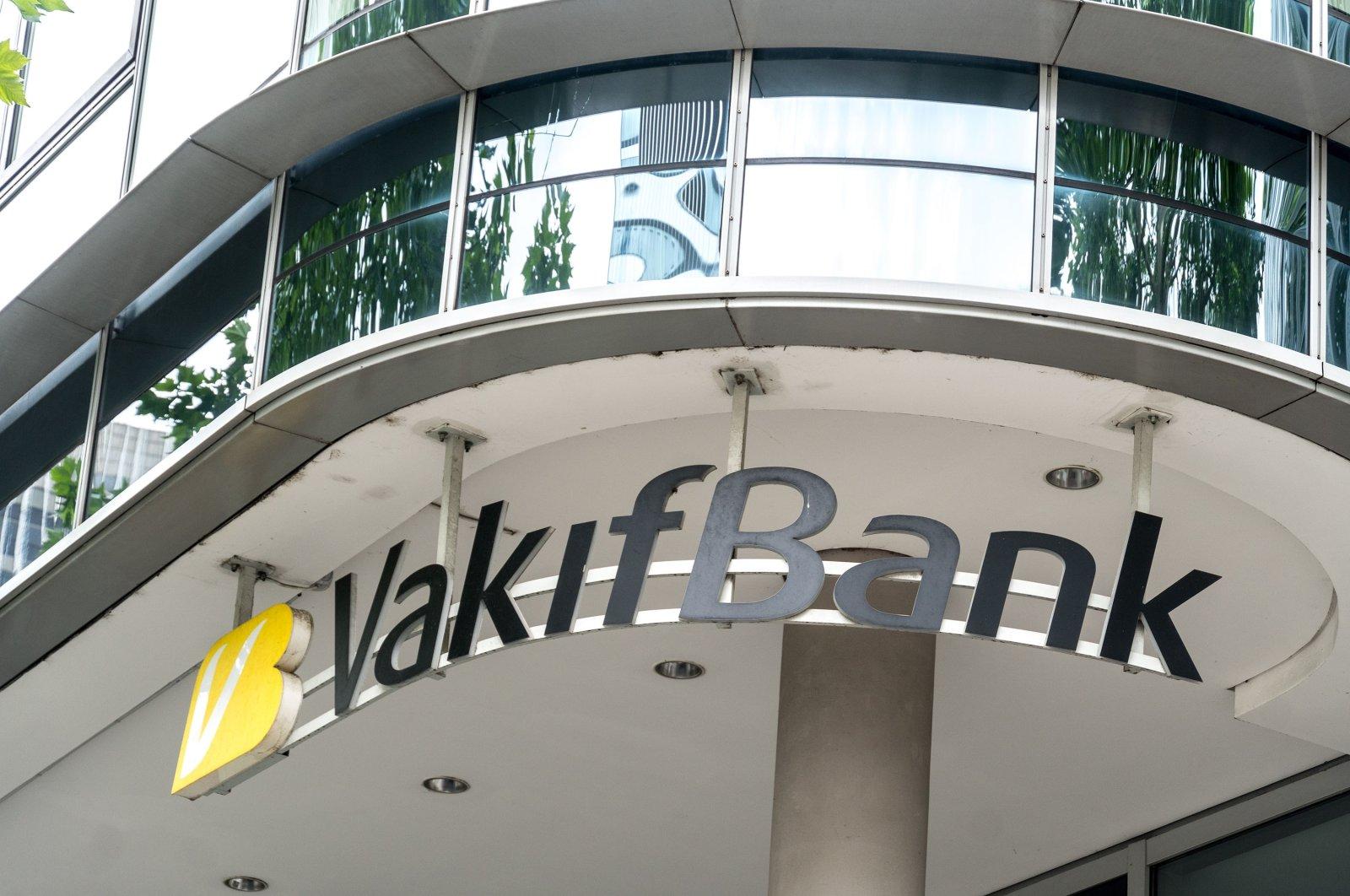 The logo of VakıfBank branch, the fifth largest bank in Turkey seen in Frankfurt am Main, Germany, June 28, 2020. (Shutterstock Photo)