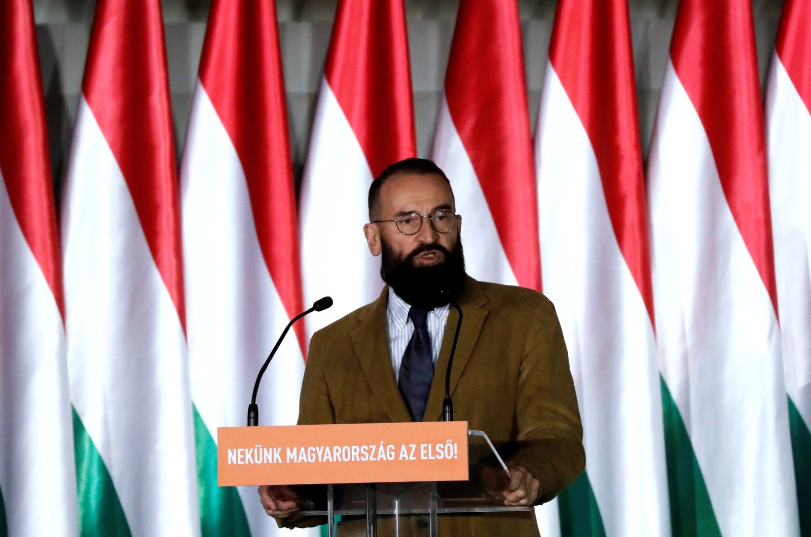 Jozsef Szajer, a senior member of the ruling Fidesz party delivers his speech during the party's campaign ahead of the European Parliament elections in Budapest, Hungary, April 5, 2019. (Reuters Photo)