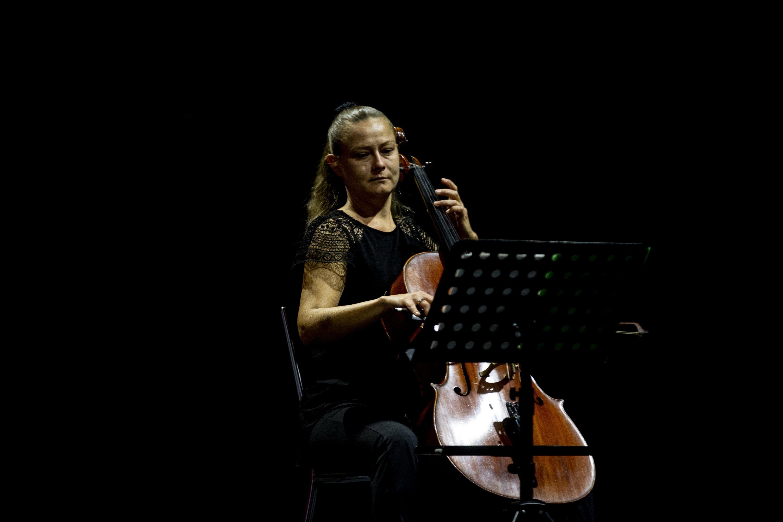 Violoncellist Veronika Yeliz Efe rehearses at the Haşim Işçan Cultural Center in Antalya, southern Turkey, Dec. 2, 2020. (AA PHOTO)