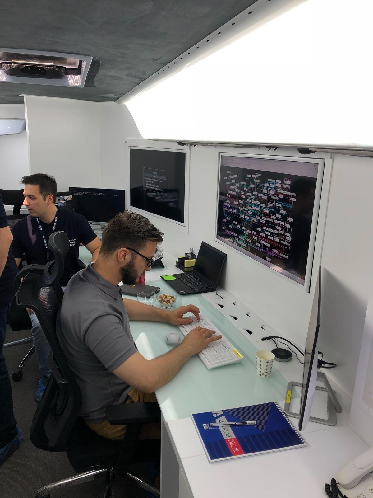 Employees work in front of a mobile SCADA system developed by Enerjisa engineers on Dec. 3, 2020. (Photo by Enerjisa via AA)
