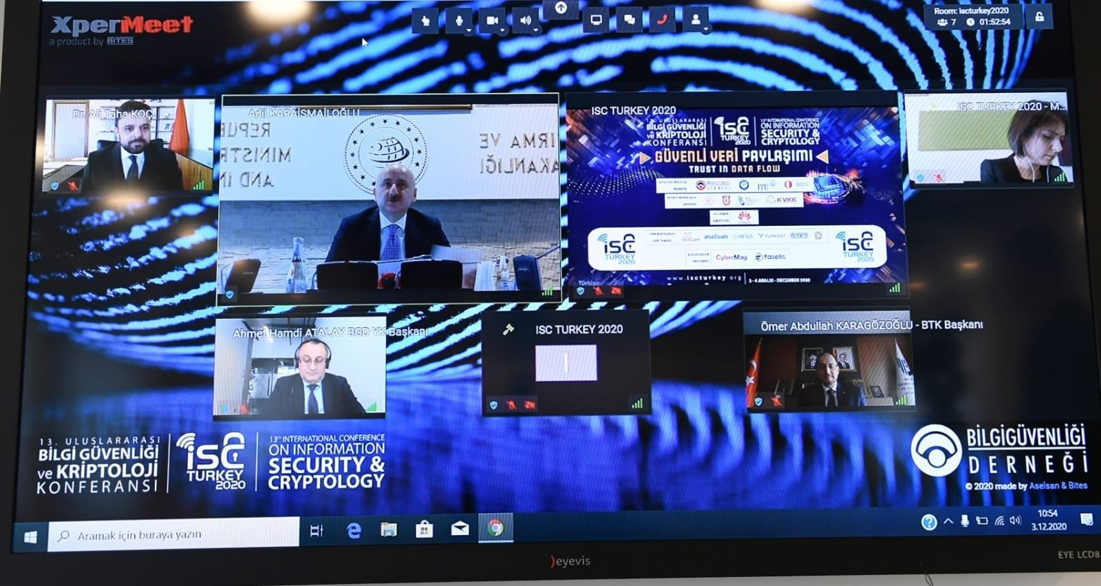 Transport and Infrastructure Minister Adil Karaismailoğlu speaks during the 13th International Conference on Information Security and Cryptology organized virtually, Ankara, Turkey, Dec. 3, 2020. (IHA Photo)
