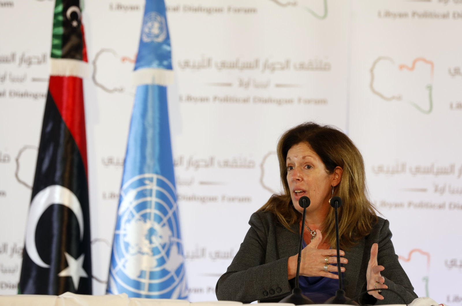 Stephanie Williams, the acting special representative of the United Nations secretary-general and head of the U.N. Support Mission in Libya, speaks during a news conference in Tunis, Tunisia, Nov. 15, 2020. (AP Photo)