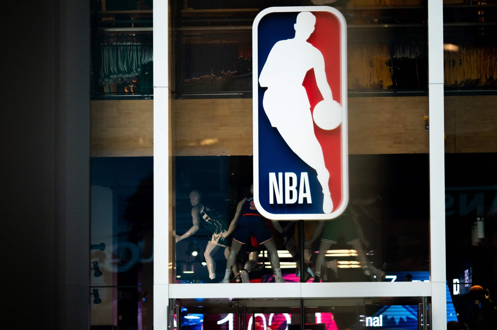 An NBA logo is shown at the Fifth Avenue NBA store in New York City, New York, U.S., March 12, 2020. (Getty Images North America / AFP)
