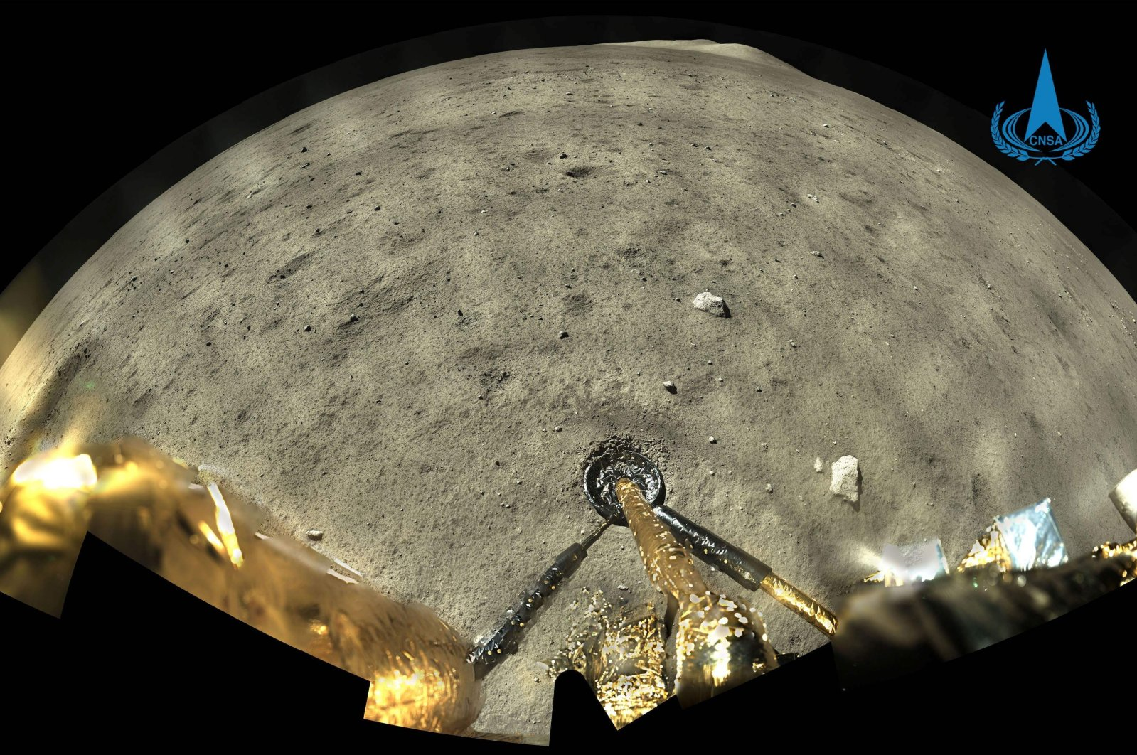 An image of the moon's surface taken by the panoramic camera aboard Chang'e-5 is seen in this picture taken on Dec. 1, 2020. (Photo courtesy of China National Space Administration (CNSA) via China News Service (CNS)/AFP)