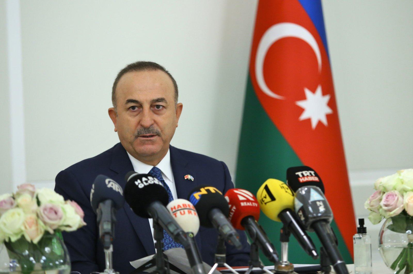Foreign Minister Mevlüt Çavuşoğlu attends a news conference in the Azerbaijani capital Baku on Nov. 13, 2020 (AA File Photo)