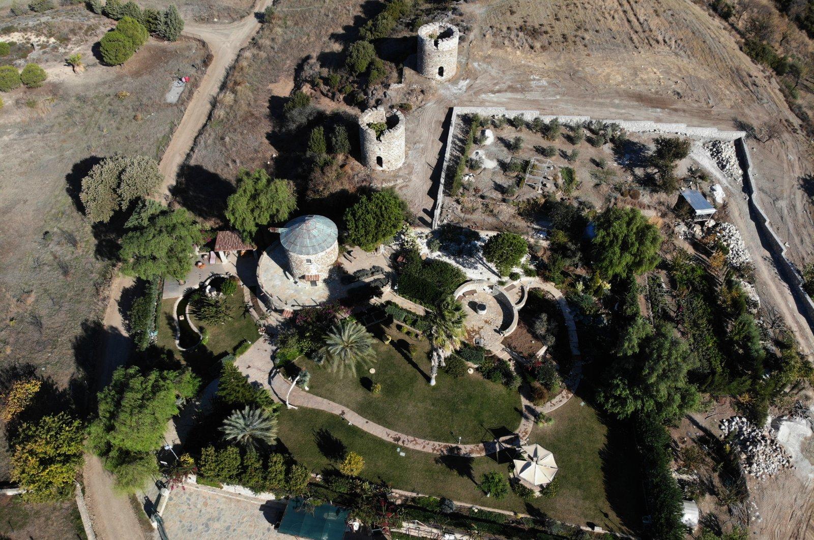 An aerial view of Ali Avseven's garden where he grows saplings and plants trees, Datça, Muğla province, western Turkey, Dec. 3, 2020. (AA Photo)