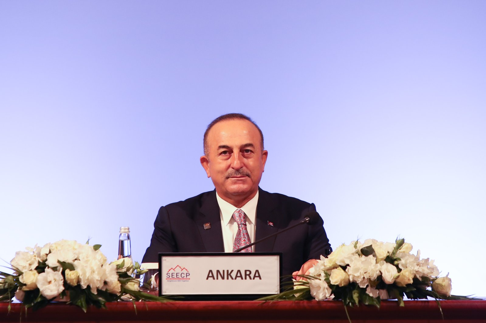 Turkish Foreign Minister Mevlüt Çavuşoğlu at the South East European Cooperation Process (SEECP) in southern Antalya province, Turkey, Nov. 6, 2020. (AA Photo)