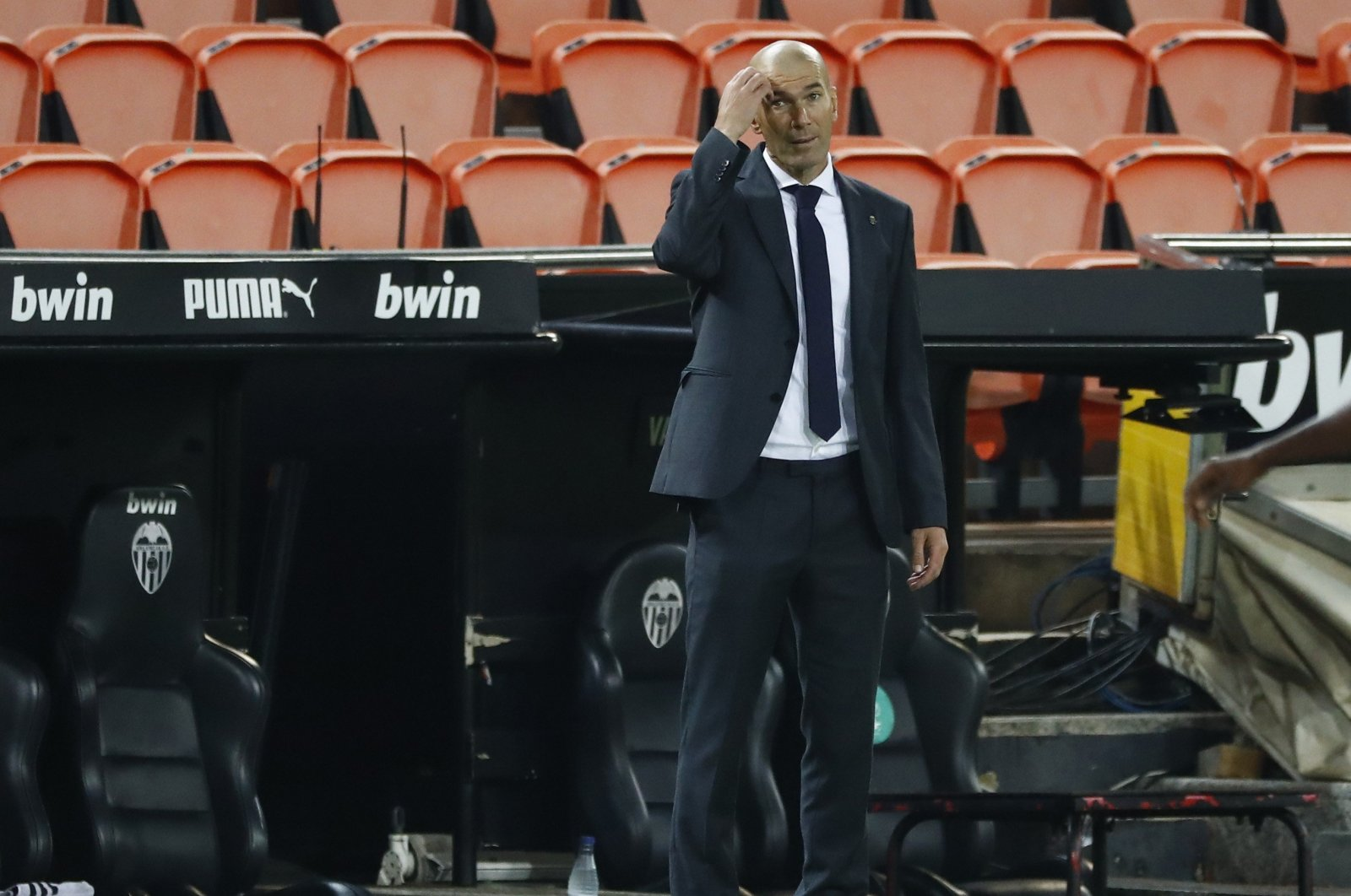 Zinedine Zidane reacts during a match between Real Madrid and Valencia, in Valencia, Spain, Nov. 8, 2020. (REUTERS PHOTO)