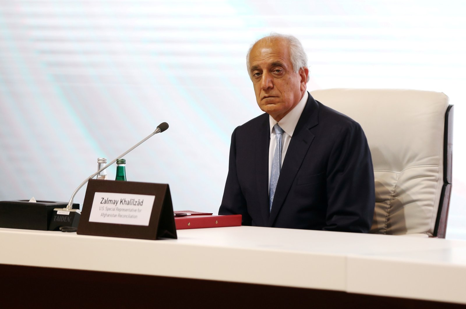 Zalmay Khalilzad, U.S. envoy for peace in Afghanistan is seen during talks between the Afghan government and Taliban insurgents in Doha, Qatar, Sept. 12, 2020. (REUTERS Photo)