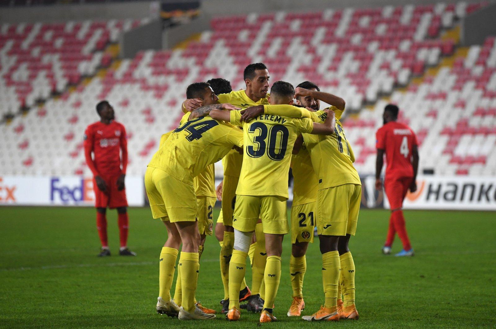 Villareal players celebrate a goal during the UEFA Europa League Group I match against Turkey's Sivasspor, at the 4 Eylül Stadium in Sivas, Turkey, Dec. 3, 2020. (AFP Photo)