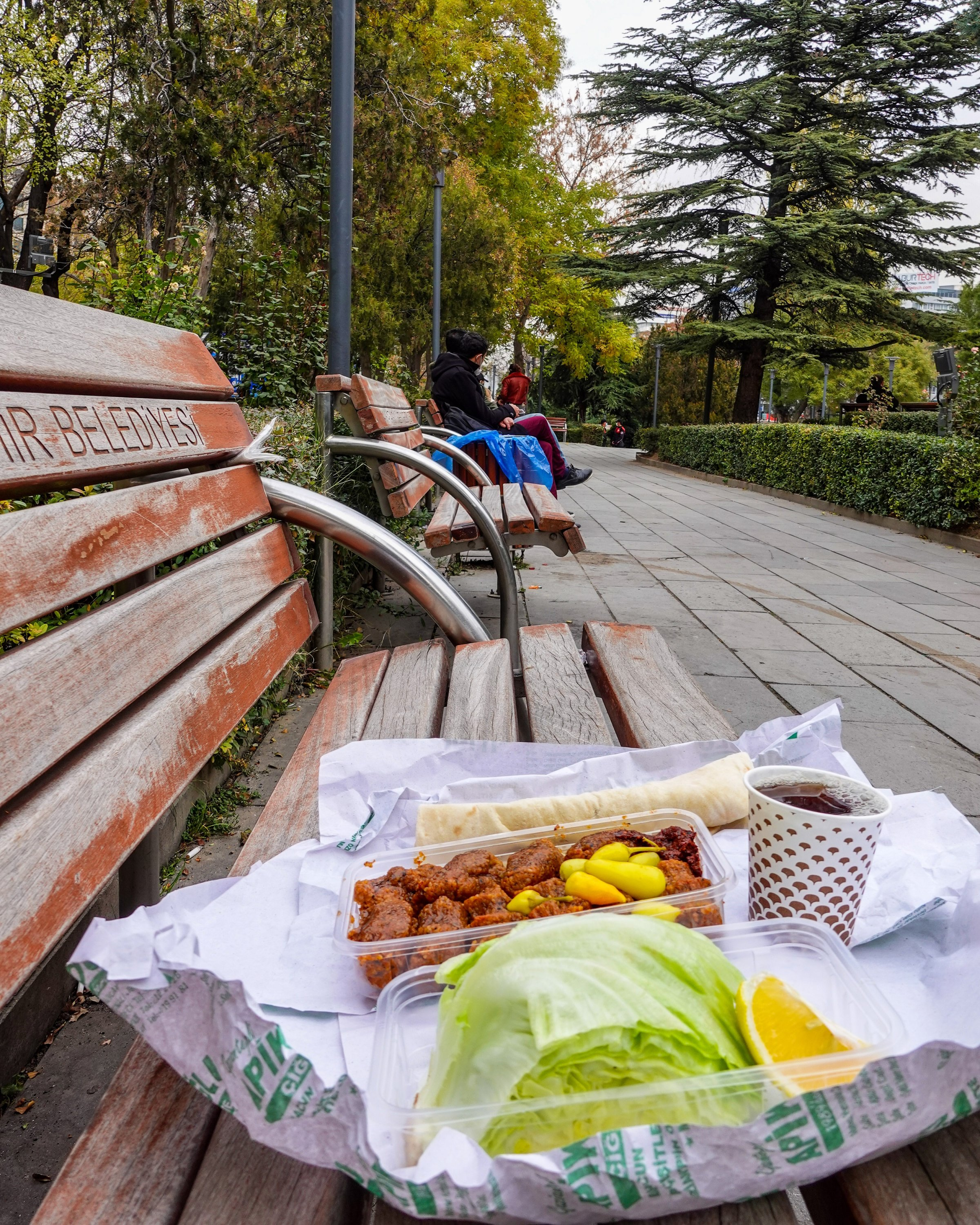 A çiğ köfte picnic at Güvenpark. (Photo by Argun Konuk)