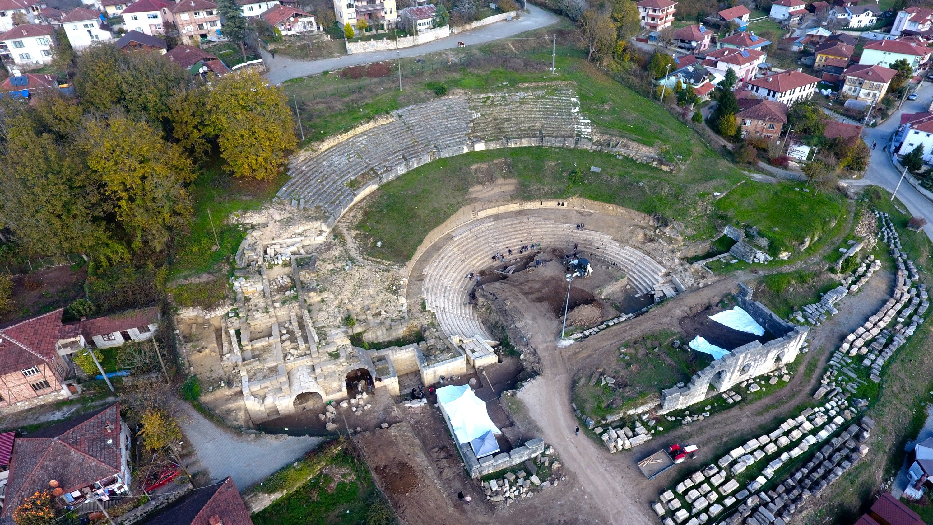 An aerial view of the ancient city of Prusias ad Hypium in Düzce, northwestern Turkey, Dec. 3, 2020. (AA Photo)